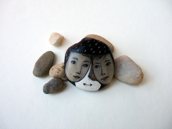 painted stone, rock, FACES, TWO,  mixed media, souvenir