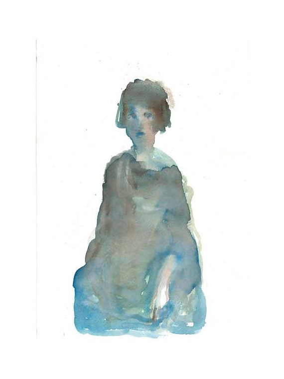 original watercolor  painting , MATTED,  figurative, LADY in BLUE, woman, portrait