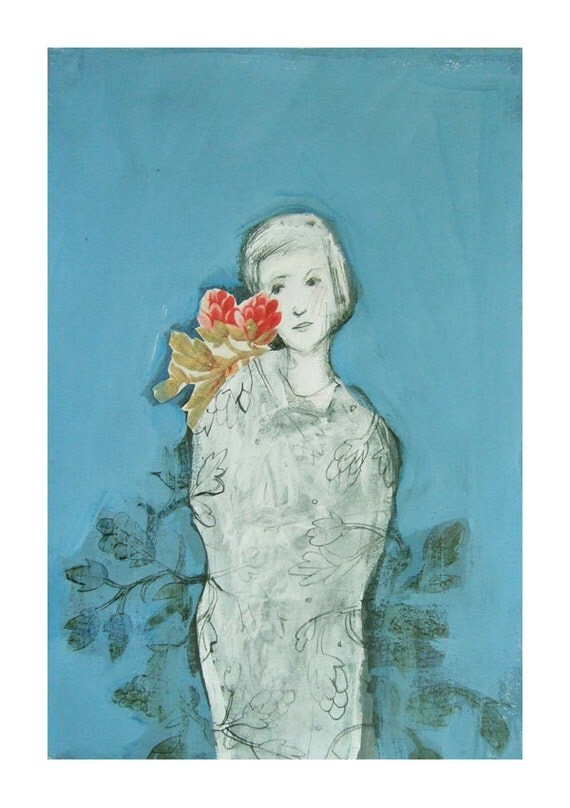 original  mixed media, figurative RED FLOWER,portrait