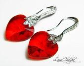 Earrings Swarovski Heart Drop Red Crystal 925 Sterling Silver CZ Earring Hooks FREE US Shipping