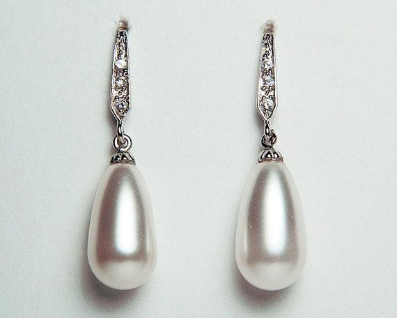 Wedding Earrings CZ Swarovski White Pearls Sterling Silver