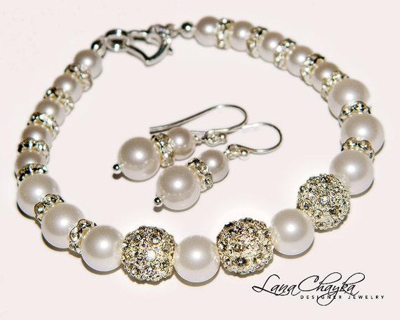 Wedding Pearl Set Bracelet and Earrings Swarovski White Pearl Sterling Silver Rhinestones Bridal FREE US Shipping