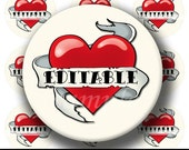 INSTANT DOWNLOAD Editable PDF Old School Heart Tattoo (160) 4x6 Bottle Cap Images Digital Collage for bottlecaps hair bows bottlecap images