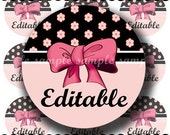 INSTANT DOWNLOAD Editable PDF Girly Bows (163) 4x6 Bottle Cap Images Digital Collage Sheet for bottlecaps  hair bows ..  bottlecap images