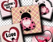 INSTANT DOWNLOAD Cutie Ladybug Valentine s Day (123) 4x6 Digital Collage Sheet 1 inch square images for glass tiles resin pendants