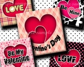 INSTANT DOWNLOAD Valentines Day Hearts (136) 4x6 Digital Collage Sheet 1 inch square images for glass tiles resin pendants magnets