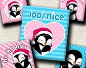 INSTANT DOWNLOAD Christmas Penguins (388) 4x6 Digital Collage Sheet (0.75 inch x 0.83 inch) scrabble tile images  for scrabble tiles