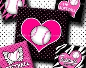 INSTANT DOWNLOAD Pink Softball Rocks (435) 4x6 Digital Collage Sheet 1 inch square images for glass tiles resin pendants magnets stickers ..