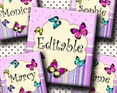 INSTANT DOWNLOAD Editable PDF Lovely Butterflies (470) 4x6 Digital Collage Sheet 0.75 inch x 0.83 inch (scrabble size) for scrabble tiles ..
