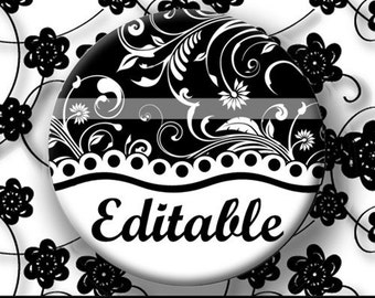 INSTANT DOWNLOAD Editable PDF Black and White Floral Black Font (171) 4x6 Bottle Cap Images Digital Collage Sheet for bottlecaps hair bows .