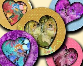 INSTANT DOWNLOAD Floral Hearts (116) 4x6 Bottle Cap Images Digital Collage Sheet for bottlecaps glass tiles hair bows  .. bottlecap images