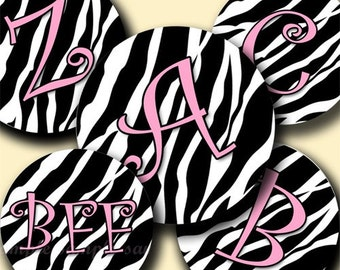 INSTANT DOWNLOAD New Zebra Alphabet (094) 4x6 Digital Collage Sheet  Bottle Cap Images bottlecaps glass tiles hair bows  bottlecap images