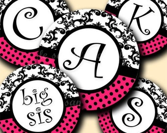 INSTANT DOWNLOAD Damask Hot Pink Alphabet (141) 4x6 Digital Collage Sheet Bottle Cap Images for bottlecaps hair bows . bottlecap images