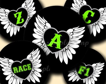 INSTANT DOWNLOAD Racing Alphabet (060) 4x6 Digital Collage Sheet Bottle Cap Images for bottlecaps glass tiles hair bows .. bottlecap images