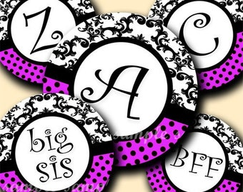 INSTANT DOWNLOAD Damask Purple Alphabet (143) 4x6 Digital Collage Sheet Bottle Cap Images for bottlecaps hair bows .. bottlecap images