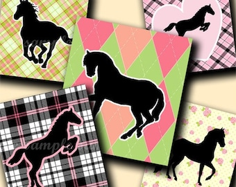 INSTANT DOWNLOAD I Love Horses (180) 4x6 Digital Collage Sheet ( 0.75 inch x 0.83 inch ) scrabble tile images  for scrabble tiles ..