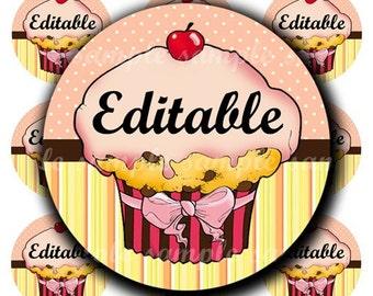 INSTANT DOWNLOAD Editable PDF Cutie Cupcake (188) 4x6 Bottle Cap Images Digital Collage Sheet for bottlecaps hair bows .. bottlecap images