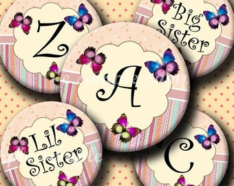 INSTANT DOWNLOAD Lovely Butterflies Alphabet (146) 4x6 Digital Collage Bottle Cap Images for bottlecaps hair bows . bottlecap images