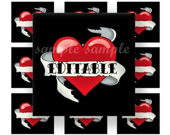 INSTANT DOWNLOAD Editable JPG Black Old School Heart Tattoo (210) 4x6 1 inch Square Images Digital Collage Sheet for glass tiles resin