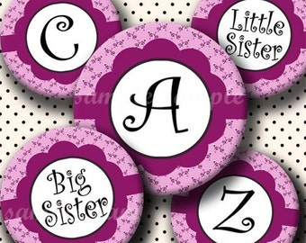 INSTANT DOWNLOAD Purple Floral Alphabet (211) 4x6 Digital Collage Sheet Bottle Cap Images  bottlecaps glass tiles hair bows bottlecap images