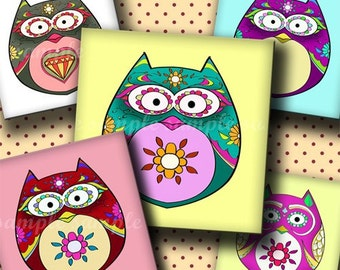 INSTANT DOWNLOAD Cutie Floral Owls (223) 4x6 Digital Collage Sheet 1 inch square images for glass tiles resin pendants magnets stickers ..