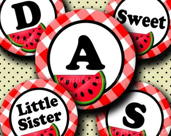 INSTANT DOWNLOAD Sweet Watermelon Alphabet (249) 4x6 Digital Collage Sheet Bottle Cap Images for bottlecaps  hair bows .. bottlecap images