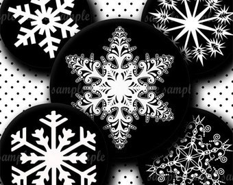 INSTANT DOWNLOAD Black And White Snowflakes (091) 4x6 Bottle Cap Images Digital Collage Sheet for bottlecaps hair bows .. bottlecap images