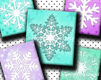 INSTANT DOWNLOAD Cutie Snowflakes (108) 4x6 Digital Collage Sheet ( 0.75 inch x 0.83 inch ) scrabble tile images  for scrabble tiles ..
