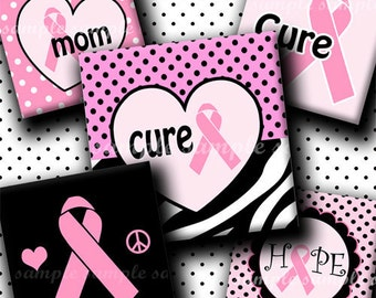 INSTANT DOWNLOAD Breast Cancer Pink Ribbons ( 124 ) 4x6 Digital Collage Sheet 1 inch square images for glass tiles resin pendants magnets