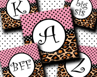INSTANT DOWNLOAD Pink Leopard Alphabet (131) 4x6 Digital Collage Sheet 1 inch square images (2 pages) for glass tiles resin pendants magnets