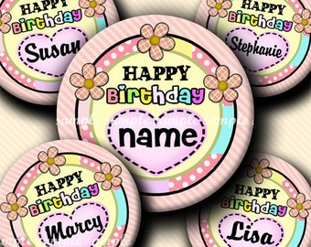 INSTANT DOWNLOAD Editable JPG Happy Birthday  (325) 4x6 Bottle Cap Images Digital Collage Sheet for bottlecaps hair bows .. bottlecap images