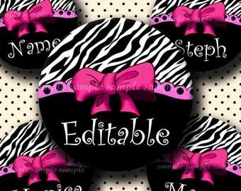 INSTANT DOWNLOAD Editable PDF Girly Zebra Ribbon (351) 4x6 Bottle Cap Images Digital Collage Sheet for bottlecaps hair bows bottlecap images
