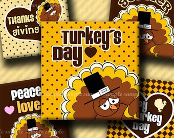 INSTANT DOWNLOAD Happy Turkey Day (355) 4x6 Digital Collage Sheet 1 inch square images for glass tiles resin pendants magnets stickers ..