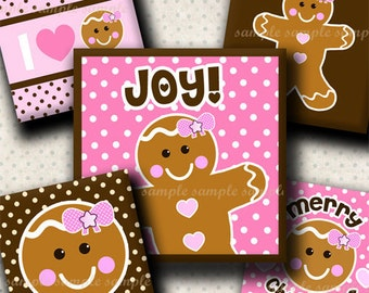 INSTANT DOWNLOAD Christmas Girly Gingerbread (365) 4x6 Digital Collage Sheet 1 inch square images for glass tiles resin pendants magnets