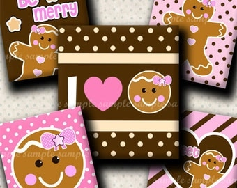 INSTANT DOWNLOAD Christmas Girly Gingerbread (366) 4x6 Digital Collage Sheet (0.75 inch x 0.83 inch) scrabble tile images for scrabble tiles