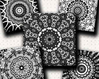 INSTANT DOWNLOAD Black and White Mandalas (384) 4x6 Digital Collage Sheet 1 inch square images for glass tiles resin pendants magnets