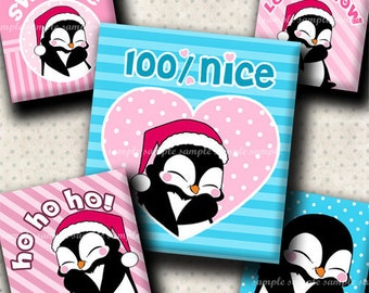 INSTANT DOWNLOAD Christmas Penguins (388) 4x6 Digital Collage Sheet (0.75 inch x 0.83 inch) scrabble tile images  for scrabble tiles