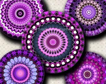 INSTANT DOWNLOAD Purple Mandalas (399) 4x6 Bottle Cap Images Digital Collage Sheet for bottlecaps glass tiles hair bows .. bottlecap images