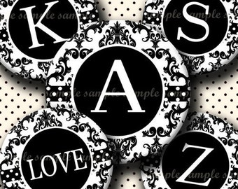 INSTANT DOWNLOAD Black And White Damask Alphabet (403) 4x6 Digital Collage Sheet Bottle Cap Images bottlecaps hair bows .. bottlecap images