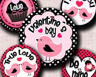 INSTANT DOWNLOAD Happy Valentines Day (404) 4x6 Bottle Cap Images Digital Collage Sheet for bottlecaps  hair bows  .. bottlecap images