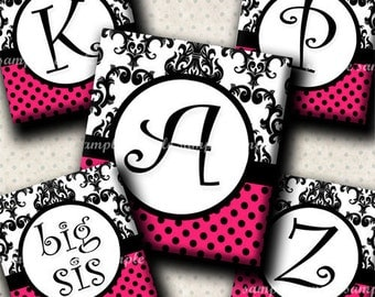 INSTANT DOWNLOAD Damask Hot Pink Alphabet (420) 4x6 Digital Collage Sheet (0.75 inch x 0.83 inch) scrabble tile images (2 pages) ..