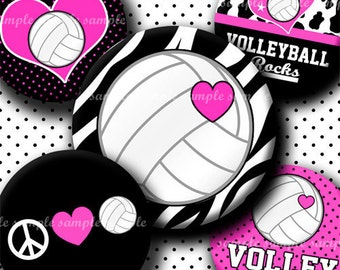 INSTANT DOWNLOAD Pink Volleyball Rocks (423) 4x6 Bottle Cap Images Digital Collage Sheet for bottlecaps hair bows ..  bottlecap images