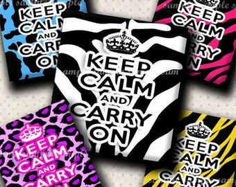 INSTANT DOWNLOAD Funky Keep Calm And Carry On (428) 4x6 Digital Collage Sheet (0.75 inch x 0.83 inch) scrabble tile images scrabble tiles