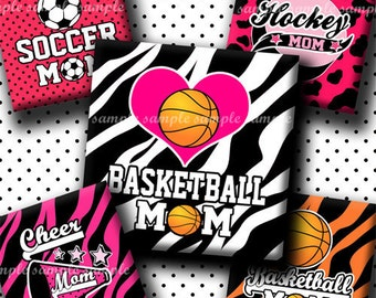 INSTANT DOWNLOAD Sport Mom (434) 4x6 Digital Collage Sheet 1 inch square images for glass tiles resin pendants magnets stickers ..