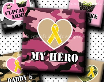 INSTANT DOWNLOAD Army Girly Designs (437) 4x6 Digital Collage Sheet 1 inch square images for glass tiles resin pendants magnets stickers ..