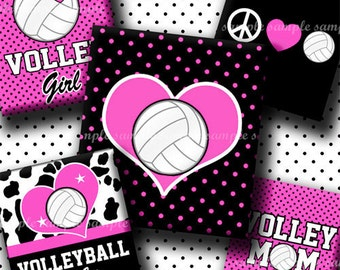 INSTANT DOWNLOAD Pink Volleyball Rocks (453) 4x6 Digital Collage Sheet (0.75 inch x 0.83 inch) scrabble tile images for scrabble tiles ..