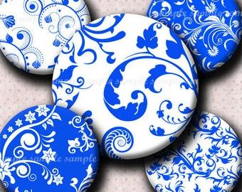 INSTANT DOWNLOAD Blue Floral Designs (474) 4x6 Bottle Cap Images Digital Collage Sheet for bottlecaps hair bows bottlecap images