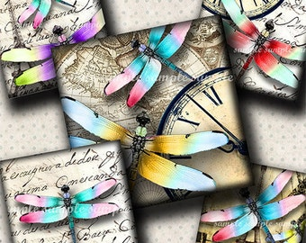 INSTANT DOWNLOAD Colorful Dragonflies (498) 4x6 Digital Collage Sheet 1 inch square images for glass tiles resin pendants magnets