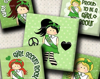 INSTANT DOWNLOAD Girl Scouts (501) 4x6 Digital Collage Sheet 1 inch square images for glass tiles resin pendants magnets stickers ..