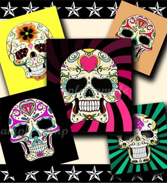INSTANT DOWNLOAD Colorful Sugar Skulls (152) 4x6 Digital Collage Sheet ( 0.75 inch x 0.83 inch ) scrabble tile images for scrabble tiles